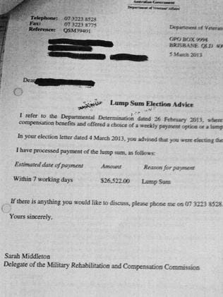 A leaked private document detailing a veterans compensation claim. Picture: Supplied