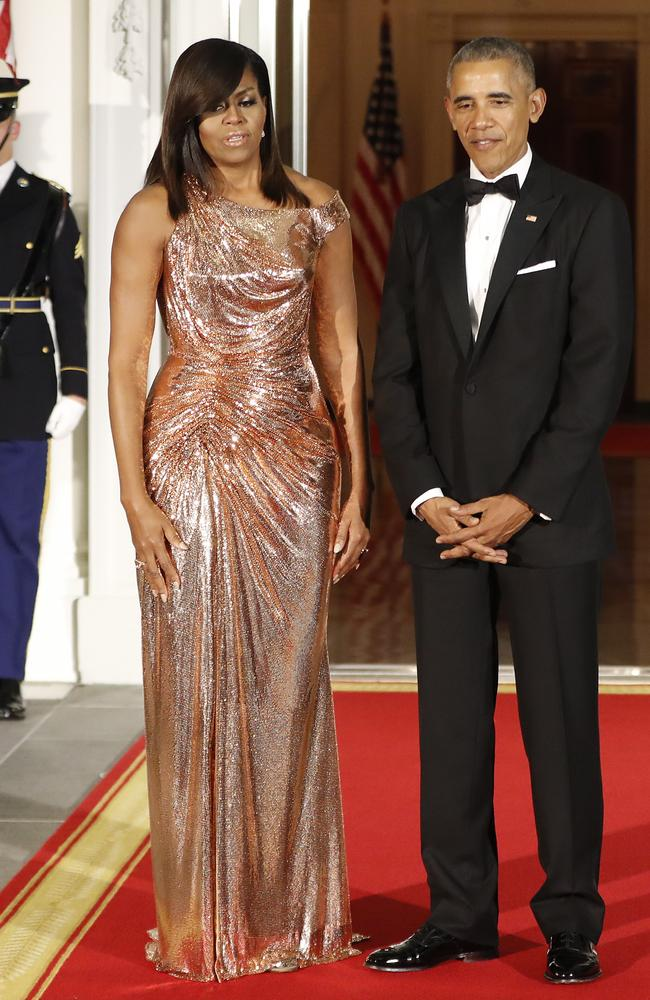 Michelle Obama In Chain Mail Versace Dress Photos Are