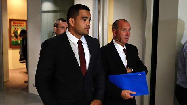 Richie Fa'aoso leaving NRL Judiciary after receiving a 1 week ban. Picture: Greenhill Craig