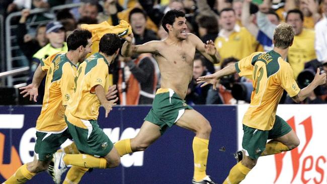 John Aloisi celebrates his famous winner from the spot against Uruguay to reach the 2006 World Cup.