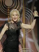 "Nicole Kidman accepts the award for Best Performance by an Actress in a Limited Series or Motion Picture Made for Television for ""Big Little Lies"" during the 75th Annual Golden Globe Awards. Picture: AP"