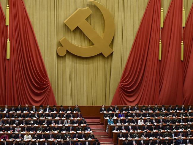 Delegates attend the opening session of the Chinese Communist Party's five-yearly Congress at the Great Hall of the People in Beijing. Picture: AFP / Wang Zhao