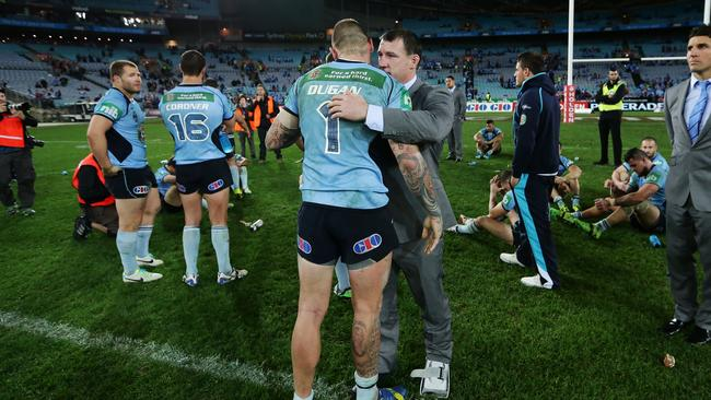 NSW Paul Gallen with Josh Dugan embrace.