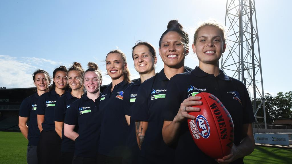 Angela Foley, Tayla Thorn, Sally Riley, Sophie Armitstead, Abbey Holmes, Heather Anderson, Stevie-Lee Thompson and Jasmine Anderson make up the eight females who have made the Crows list for the AFL women's League.
