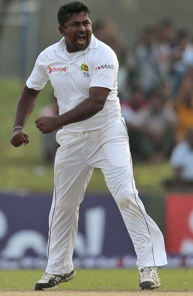 Rangana Herath is jubilant after removing Pakistan batsman Khurram Manzoor on the fourth day.