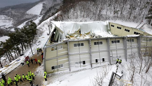 At least 10 dead ... The collapsed building at the Mauna Ocean Resort in Gyeongju, in Sou