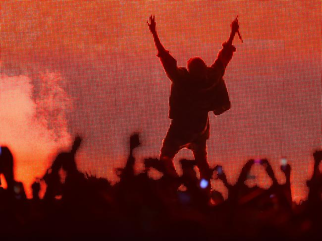 'Going after Shakespeare' ... Kanye West performed mostly in silhouette at Bonnaroo, relying on the big screen to relay his distorted image to the crowd. Picture: Jason Merritt