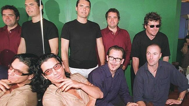 Michael Hutchence with band INXS at a press conference in Sydney in 1996. Photo: AFP