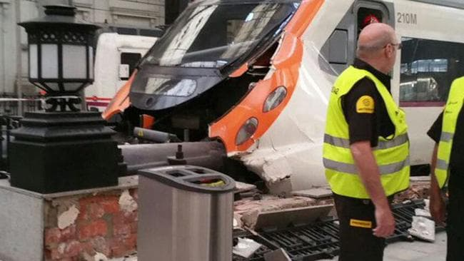 A Barcelona metro train crashed into buffers, injuring 48 people.