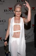 Is it on back to front? Singer Pink arrives at the BMG post-Grammy party in 2002. Picture: Sebastian Artz/Getty Images
