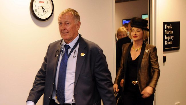 Owner John Singleton and trainer Gai Waterhouse leave the stewards inquiry at Randwick after More Joyous' was unplaced in the All Aged Stakes Picture: Jermey Piper