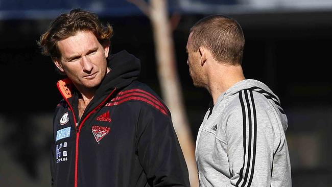 Coach James Hird during Essendon training at Windy Hill.