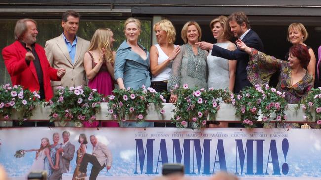 ABBA members spread out among the Mamma Mia! cast at the film's 2008 Stockholm premiere.