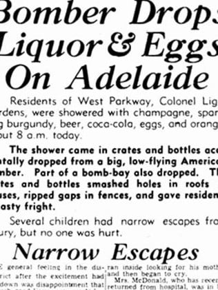 Historical images taken from The News' August 22, 1944 edition, reporting on the day a US bomber dropped some of its load on suburban Adelaide.
