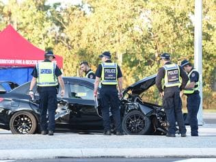 A 50-year-old male motorcyclist travelling in bound was killed after slamming into a Subaru as it pulled out to cross the highway. Picture: PATRINA MALONE