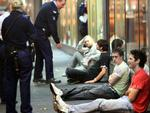 Melbourne's streets after the 2am lockout was trialled for the first busy weekend. Nightclub. Violence. Police interview some men along Swan St in relation to a bottle attack.