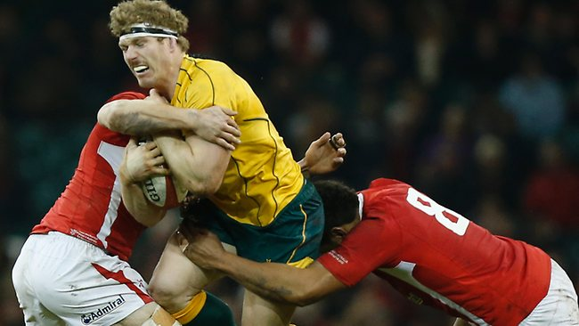 Wallabies flanker David Pocock charges into the Welsh defence. Picture: Matt Dunham