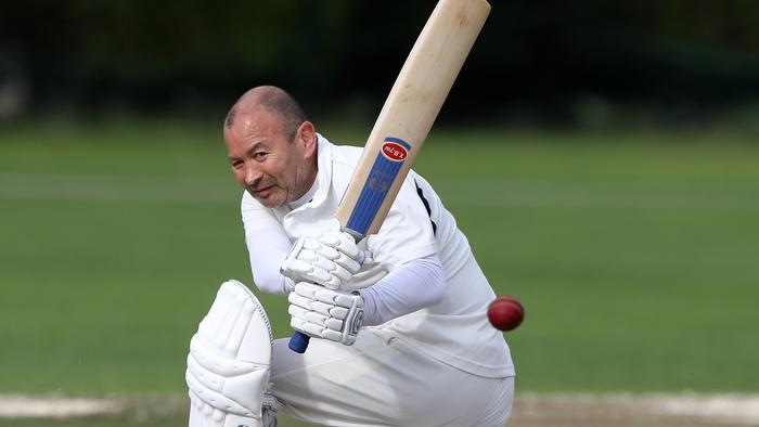 Eddie Jones bats during the Rugby Writers' cricket match against the RFU held at Old Deer Park.