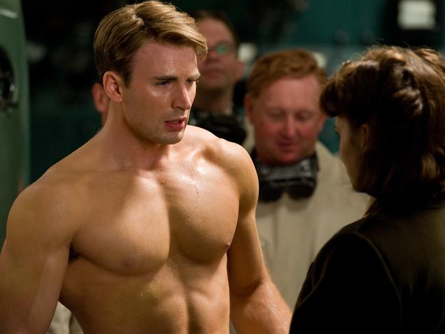 A hunky Chris Evans in a scene from 2011 film, Captain America: The First Avenger.