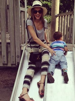 Model Miranda Kerr regularly posts photos of her son Flynn online, but does not show his face. Source: Instagram