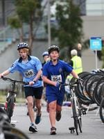 Kit Leeming of Rose Bay High School and Luke Johnson of St Virgil's College in the Grade 7 Boys Individual event. Triathlon Schools Challenge 2016 at Bellerive. Picture: NIKKI DAVIS-JONES