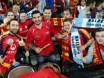 The crowd gets in the spirit in the Adelaide United v Malaga match at Adelaide Oval. Picture: Simon Cross.