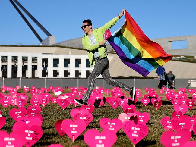 The inaugural 'Sea of Hearts' was held on the lawns of Parliament today in support of marriage equality. Picture Kym Smith