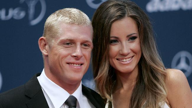 Mick Fanning and Kariisa Dalton in happier times at the Laureus Awards in Abu Dhabi.