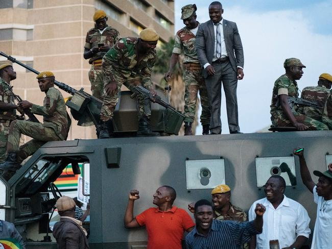Citizens welcomed the army's role in bringing down Mugabe. Picture: AFP