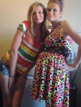 Somewhat of a giveaway ... Danielle Saxton (right) posts a selfie with the allegedly stolen leopard-print dress on the day it was stolen. Picture: Facebook