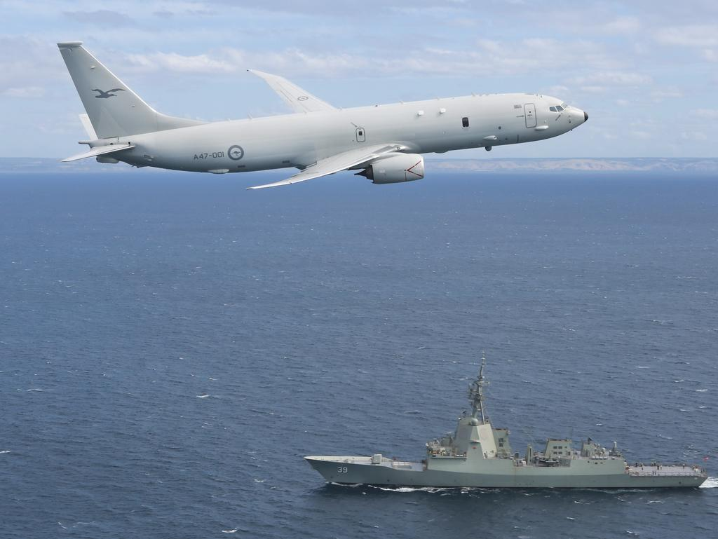 An RAAF P-8A Poseidon aircraft similar to this was forced to make an emergency landing at the Edinburgh RAAF base this afternoon.