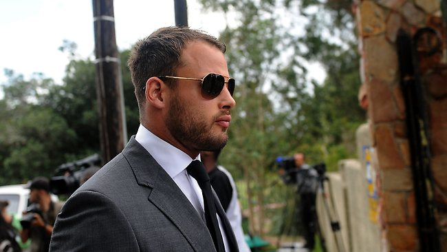 South African Springbok rugby player Francois Hougaard, who was close friends with Reeva Steenkamp, attends the model's funeral.