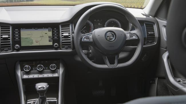 Kodiaq: Cabin adds Skoda style to VW components.