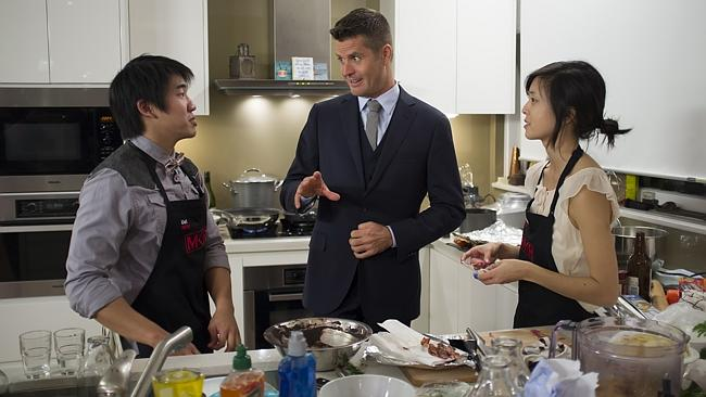 New set of contestants ... My Kitchen Rules judge Pete Evans with Uel and Shannelle. Picture: Supplied