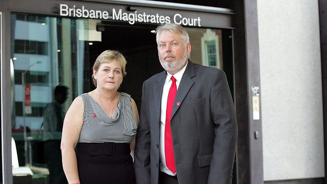Still grieving: Denise and Bruce Morcombe outside court yesterday.