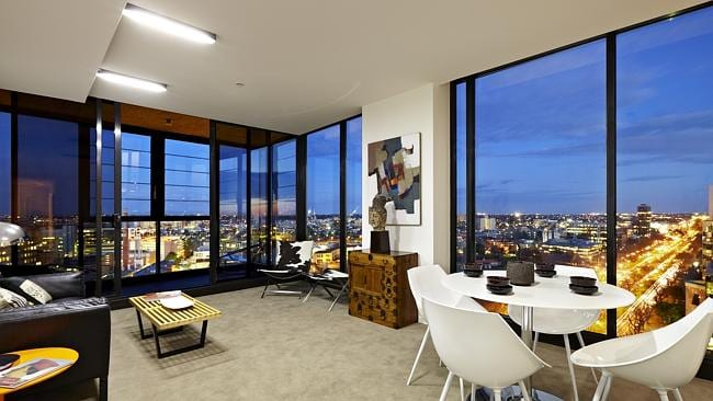 The views from the living room in the rooftop penthouse at 1702/568 St Kilda Rd Melbourne, through Icon Property.
