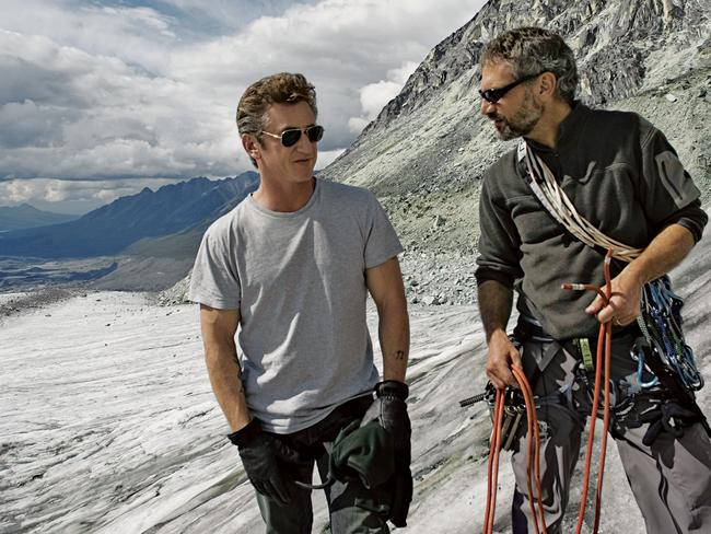 Actor Sean Penn (left) and Jon Krakauer in TV series Iconoclasts ... Krakauer wrote Into Thin Air, about the disastrous 1996 Everest climbing expedition, but has slammed the movie. Picture: Supplied.