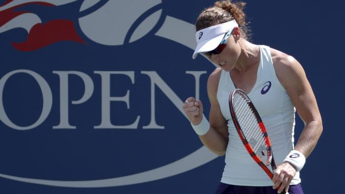 Samantha Stosur, of Australia, reacts after a point against Camila Giorgi, of Italy, during the first round of the U.S. Open tennis tournament, Tuesday, Aug. 30, 2016, in New York. (AP Photo/Alex Brandon)