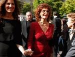 Italian actress Sophia Loren, centre, and Roberta Armani, left, the niece of Giorgio Armani, arrive to attend Giorgio Armani show as part of Paris Fashion Week - Haute Couture Fall/Winter 2014 in Paris, France. Picture: AP