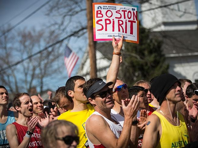 Runners wait for the start gun at the beginning of the Boston Marathon. Two bombs were detonated at the finish line last year, killing three people and injuring more than 260 others. Picture: Andrew Burton