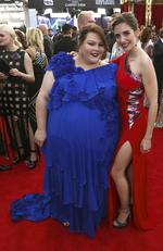 Chrissy Metz, left, and Alison Brie arrive at the 24th annual Screen Actors Guild Awards at the Shrine Auditorium & Expo Hall on Sunday, Jan. 21, 2018, in Los Angeles. (Photo by Matt Sayles/Invision/AP)