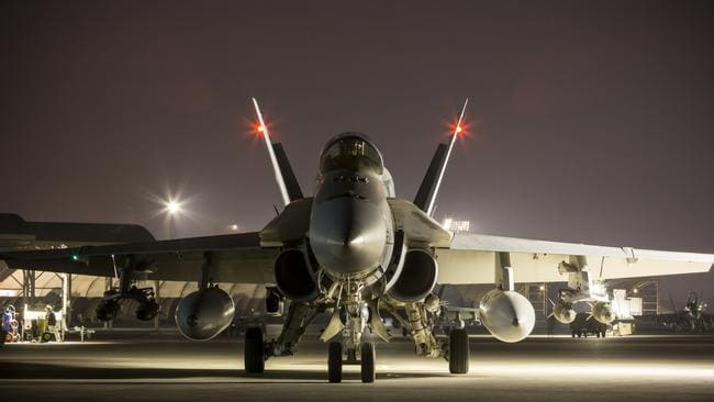 An F/A-18A Hornet prepares to depart on a mission from Australia's main operating air base in the Middle East.