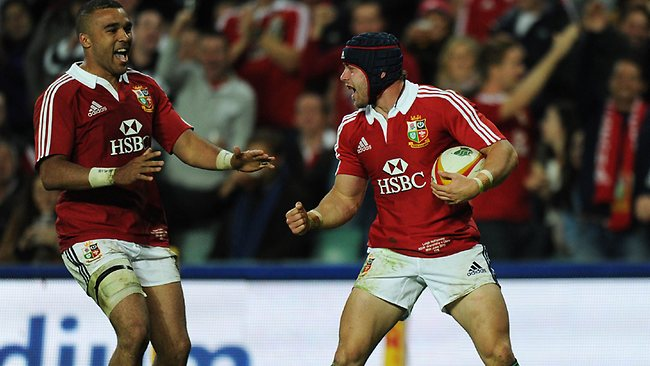 Leigh Halfpenny celebrates after scoring a try for the British and Irish Lions against the Waratahs at Allianz Stadium. Picture: Greg Wood