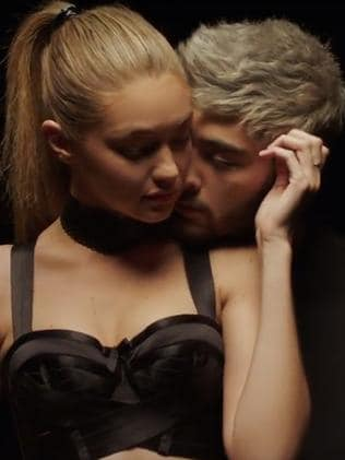 New relationship ... Zayn Malik and girlfriend Gigi Hadid in Zayn's first music clip since leaving One Direction. Picture: Supplied