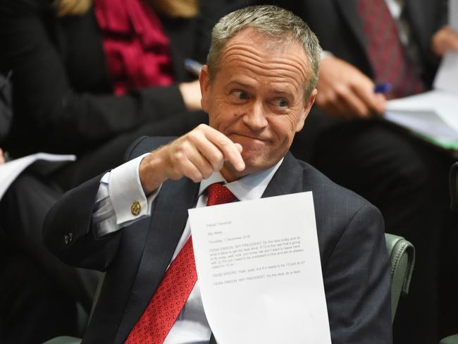 Bill Shorten shared some warm fuzzies with the PM during Question Time. Picture: AAP