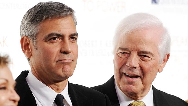 George Clooney pranked his dad Nick Clooney. Wonder if he was grounded as a result.