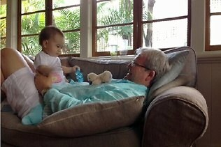 Kevin Rudd having fun with his granddaughter Josephine. Picture: Twitter