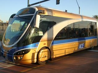 Images to go with article by Joe Spagnolo on BRT - Bus Rapid Transit vehicles. ACE Gold Line bus. Pictures sourced from FLICKR taken in Las Vegas 2010 by HerrVebah.