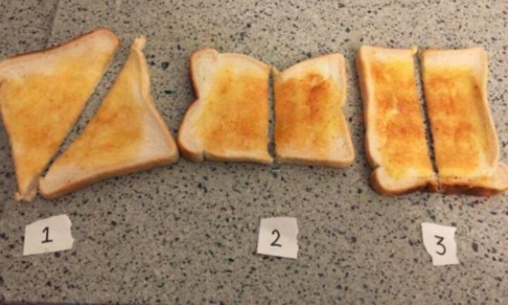 Which is the correct way to slice a piece of toast?