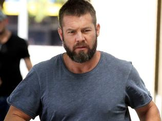 Former West Coast Eagles AFL player Ben Cousins arrives at the Fremantle Magistrates Court in Perth, Friday, Jan. 20, 2016. Cousins has been handed a three-hour trial date for June 9 after he appeared in court over an allegation he was in possession of meth in June last year. (AAP Image/Richard Wainwright) NO ARCHIVING